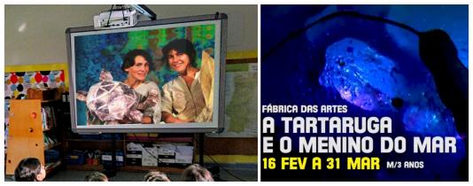 Alunos assistem a projeção em quadro interativo da peça A Tartaruga e o Menino do mar