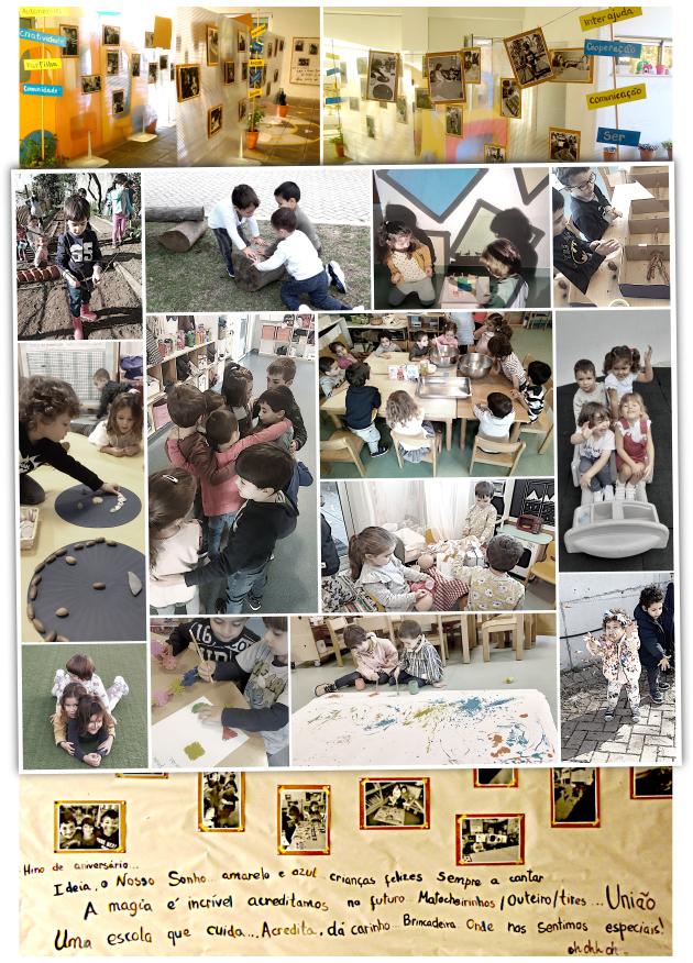 seleção de fotografias patentes na exposição, com o dia a dia das crianças